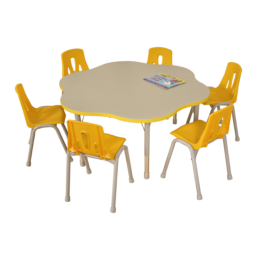 Thrifty flower table yellow 6 seater profile education for Table 6 seater